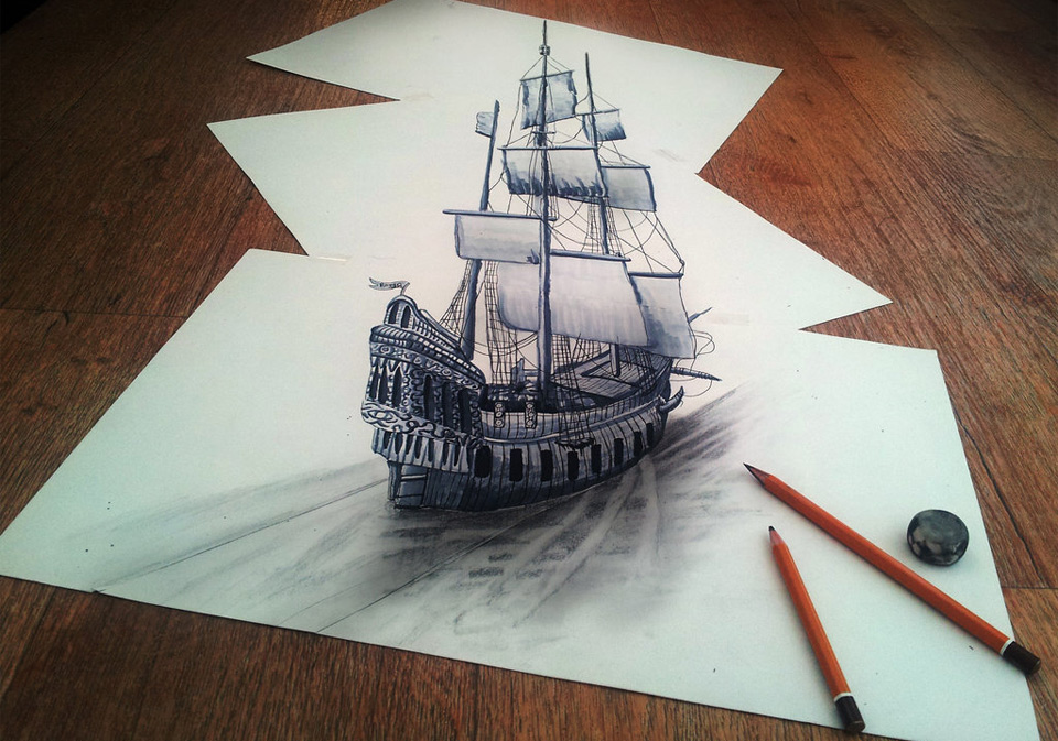 mind-blowing-3D-drawing-on-flat-sheet-of-paper
