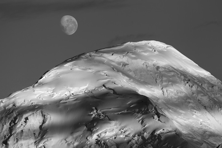 Mountain Ridge and Moon, Antarctic Peninsula