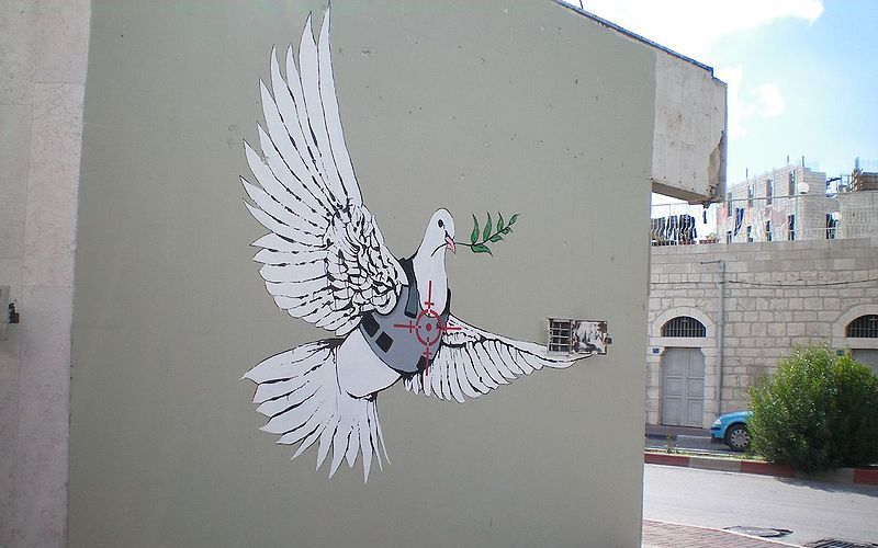 Palestine 2005 Banksy_-_Armoured_Peace_Dove (2)