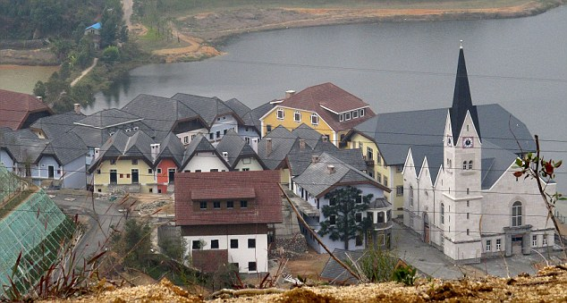 Replica of the Austrian alpine town Hallstatt built in Boluo Township, Huizhou City, Guangdong Province, China - Jan 2012
