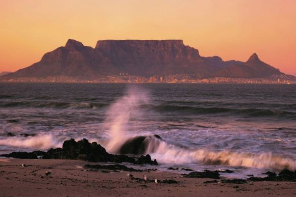 CPT Cape Town with Table Mountain from Table Bay at sunset b